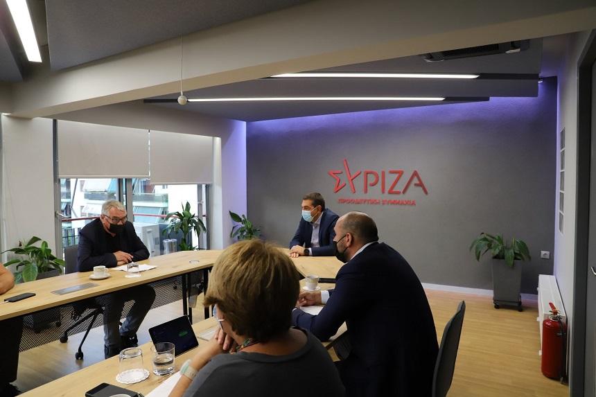 Συνάντηση αντιπροσωπείας του ΣΥΡΙΖΑ-ΠΣ, με επικεφαλής τον Γραμματέα της Κ.Ε. του κόμματος Δημήτρη Τζανακόπουλο, με τον πρόεδρο του Κόμματος Ευρωπαϊκής Αριστεράς, Heinz Bierbaum
