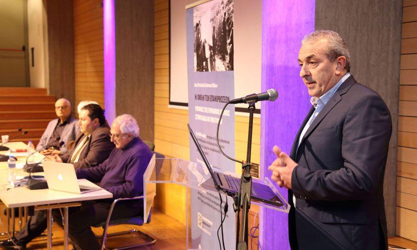 Ο Σωκράτης Βαρδάκης στην παρουσίαση του βιβλίου με θέμα τις γερμανικές αποζημιώσεις